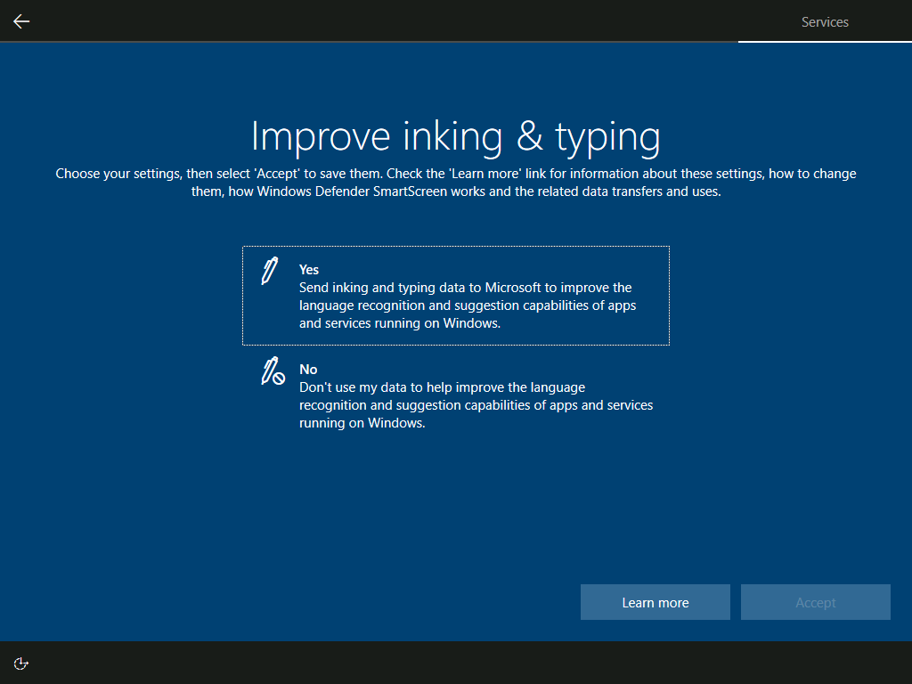Services: Improve inking & typing