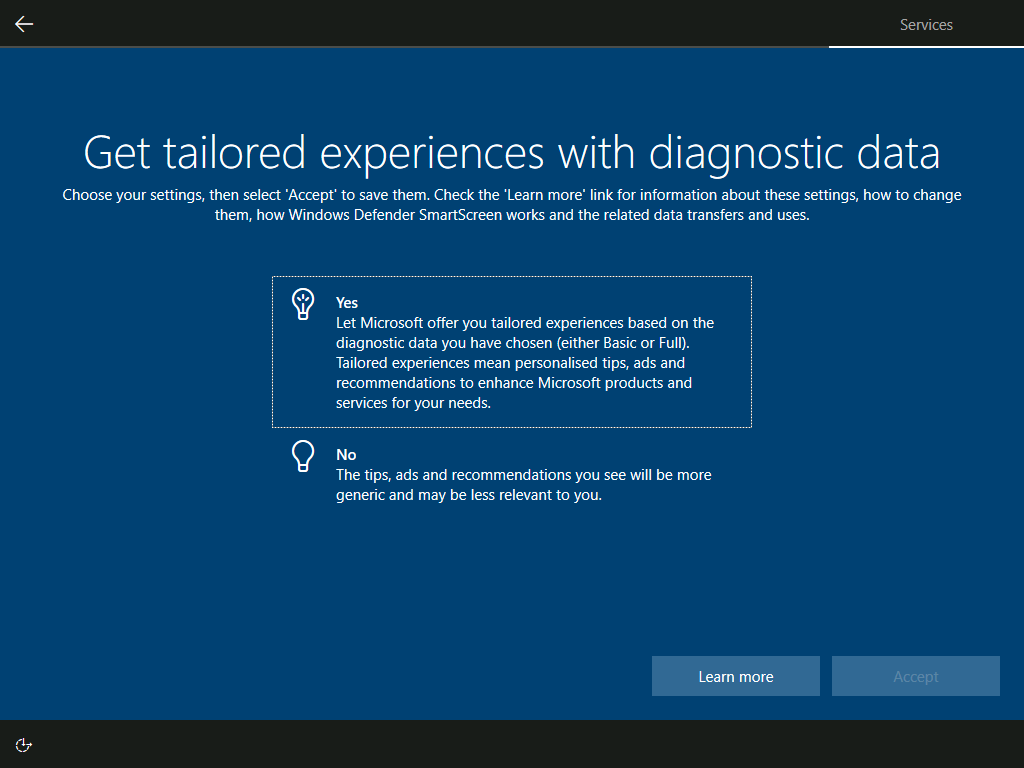 Services: Get tailored experiences with diagnostic data