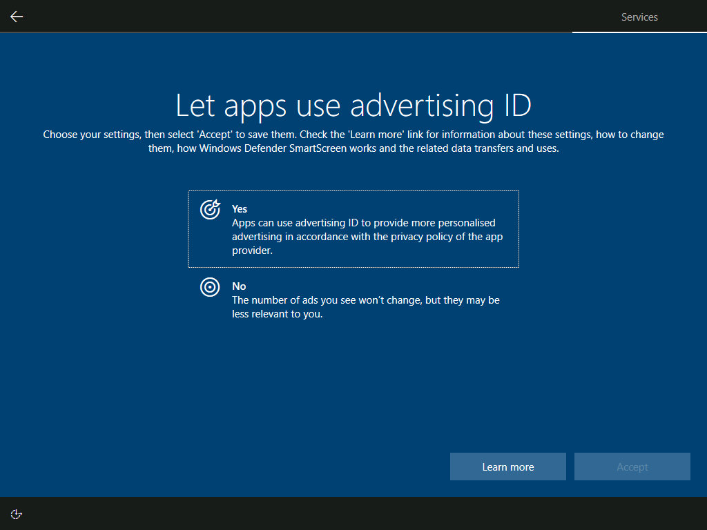 Services: Let apps use advertising ID