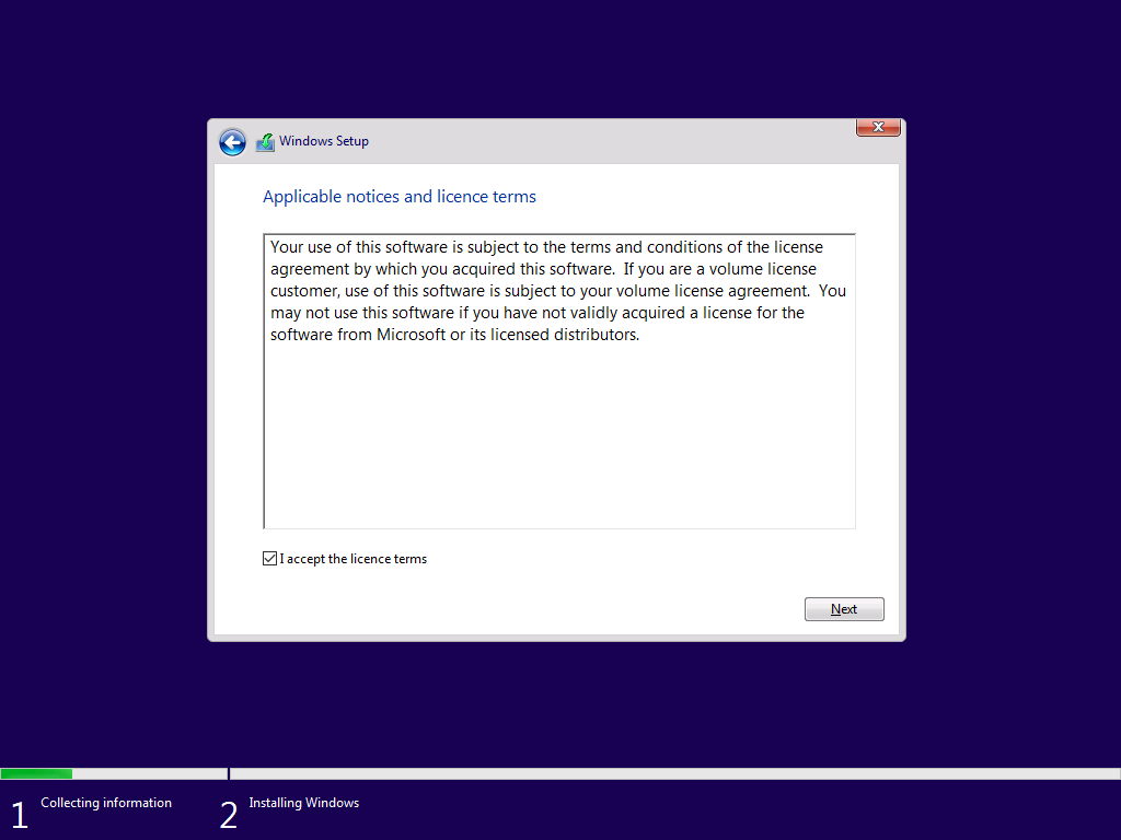 Windows Setup: Applicable notices and licence terms