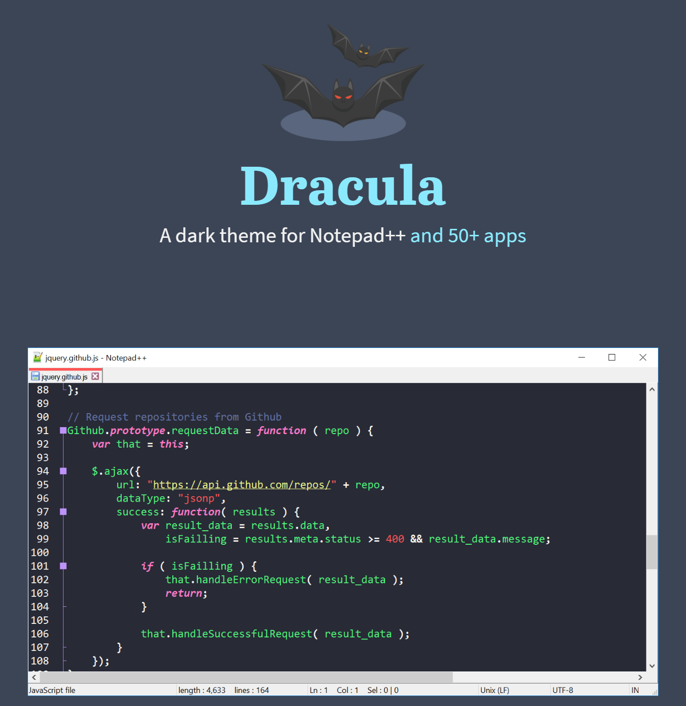 Dracula: A dark theme for Notepad++ and 50+ apps