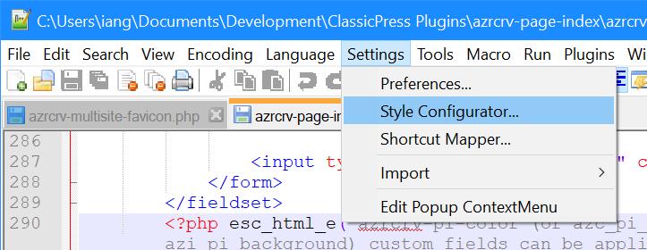 Notepad++ Settings menu