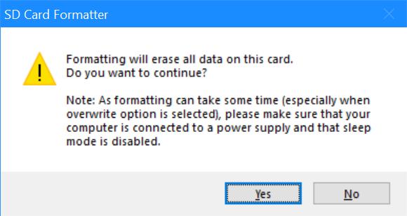 SD Card Formatter: Formatting will erase all data on this card