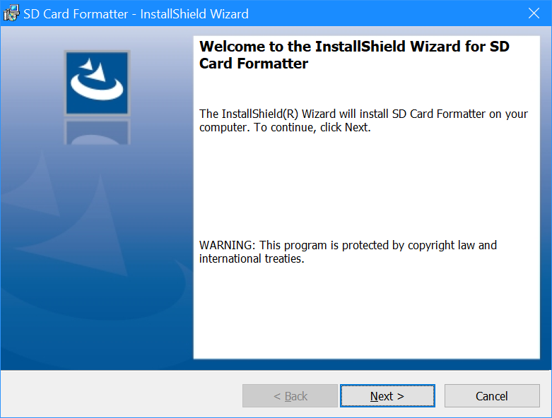 Welcome to the InstallSheild Wizard for SD Card Formatter