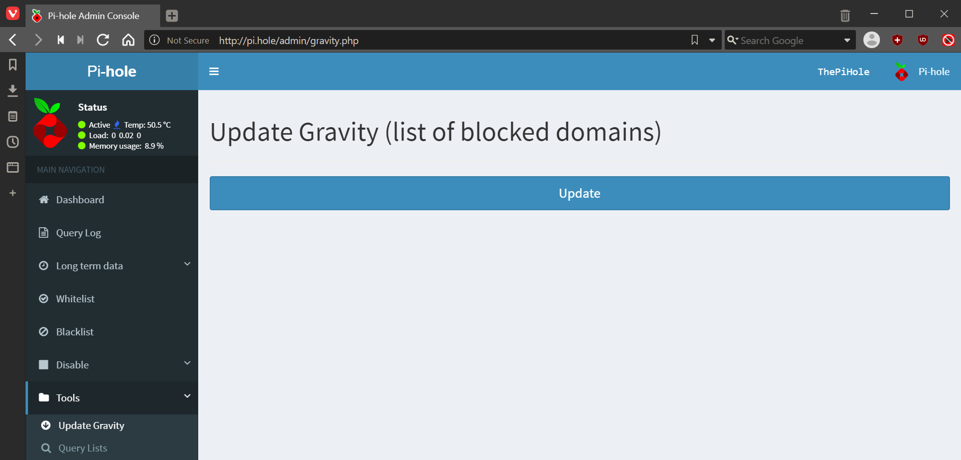 Update Gravity (list of blocked domains)