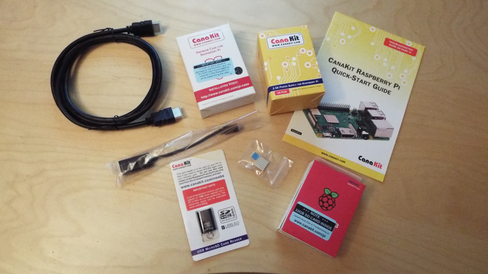 Content of Canakit Raspberry Pi starter kit