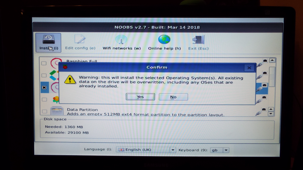 Confirm installation of OS