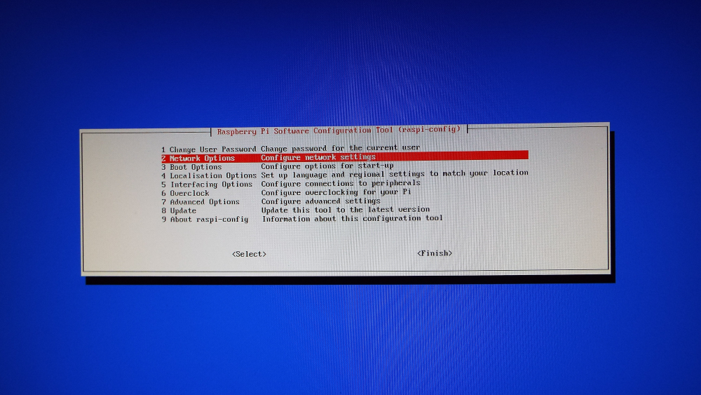 Raspberry Pi Software Configuration Tool menu showing NetWork Options selected
