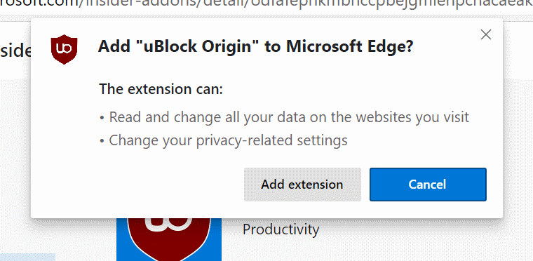 Add uBlock Origin to Microsoft Edge