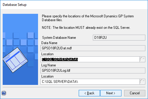 System Database Name step showing new system database name