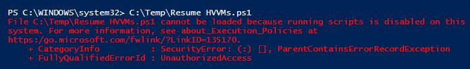 PowerShell error trying to run script