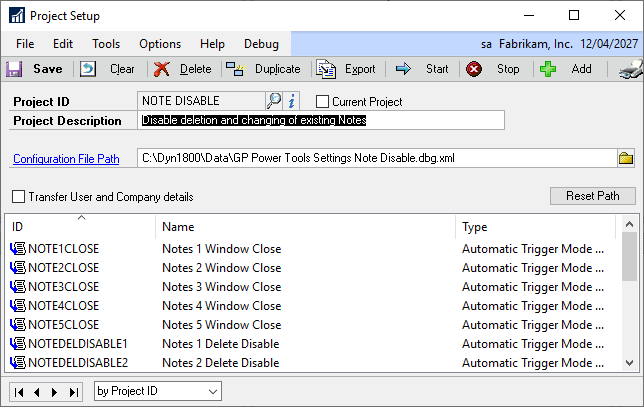 Project Setup window