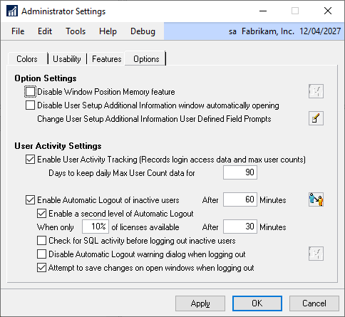 Administrator Settings &raqu0; User Activity Settings