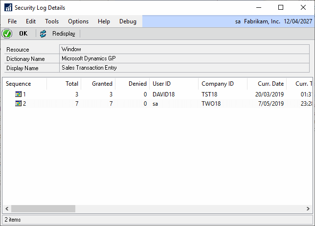 Security Log Details window