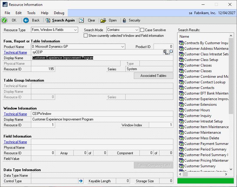 Resource Information window