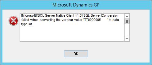 Error showing varchar conversion fail message