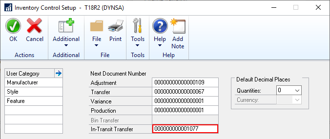 Inventory Setup showing Next Document Number for In-Transit Transfer