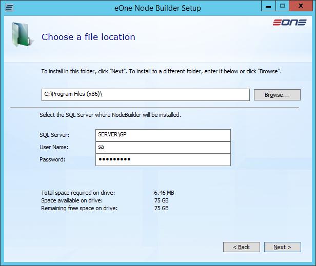 eOne Node Builder Setup: Choose a file location