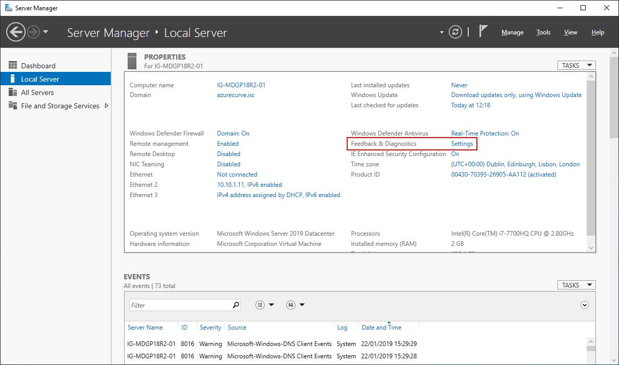 Server Manager > Local Server