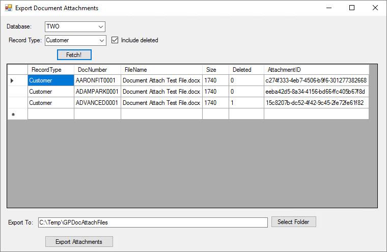 Export Document Attachments window