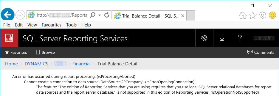 SSRS reports error message
