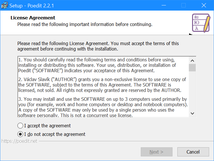 Setup Poedit - License Agreement