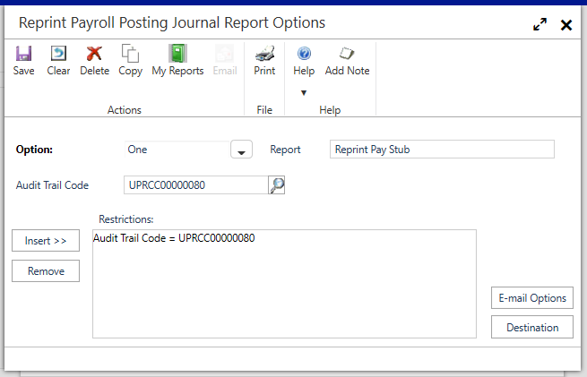 Reprint Payroll Posting Journal Report Options