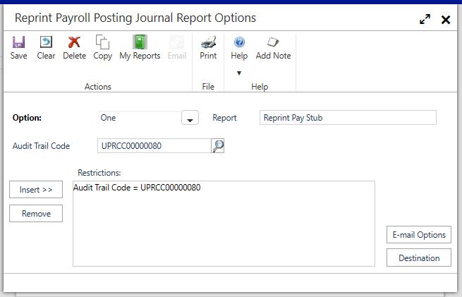 Reprint Payroll Posting Journal Report Options