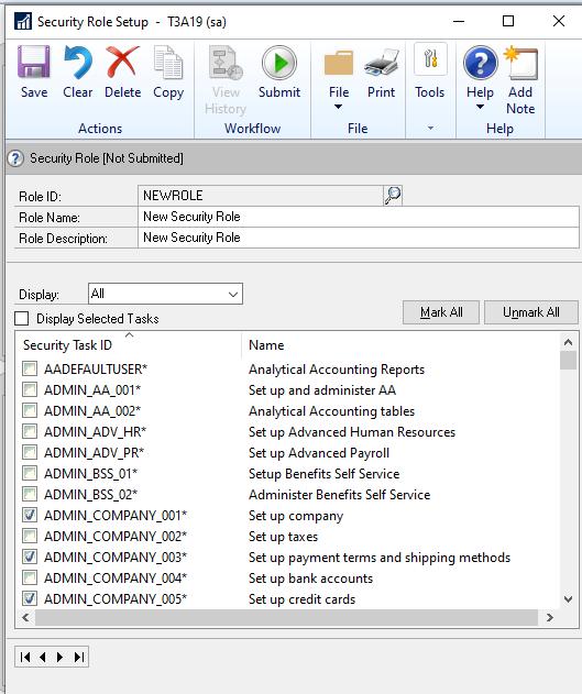 Security Role Setup window