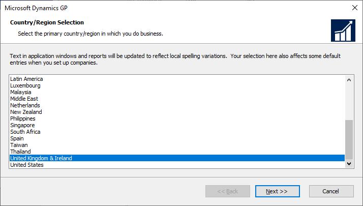 Microsoft Dynamics GP setup -