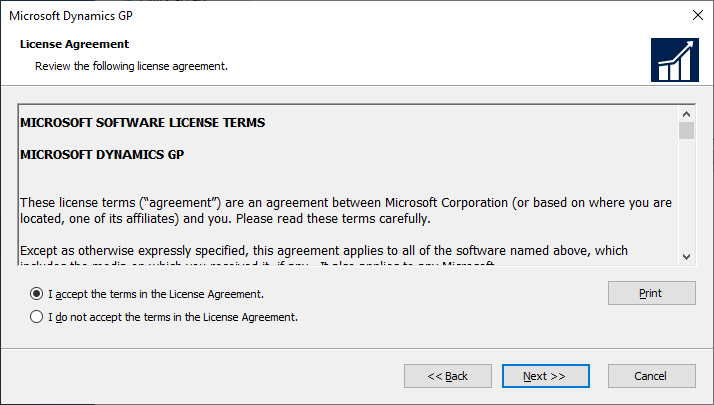 Microsoft Dynamics GP setup - License Agreement