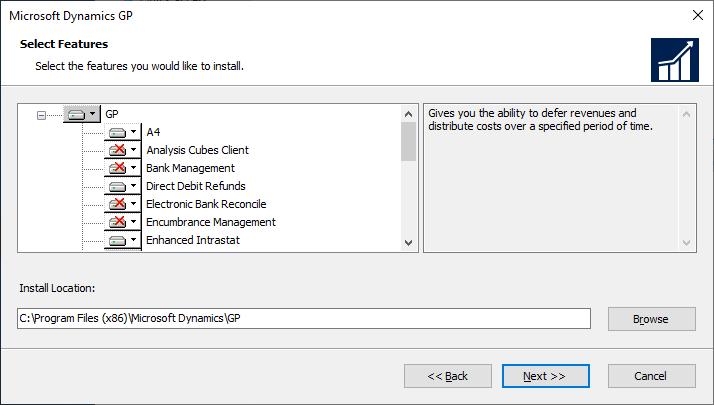 Microsoft Dynamics GP setup - Select Features