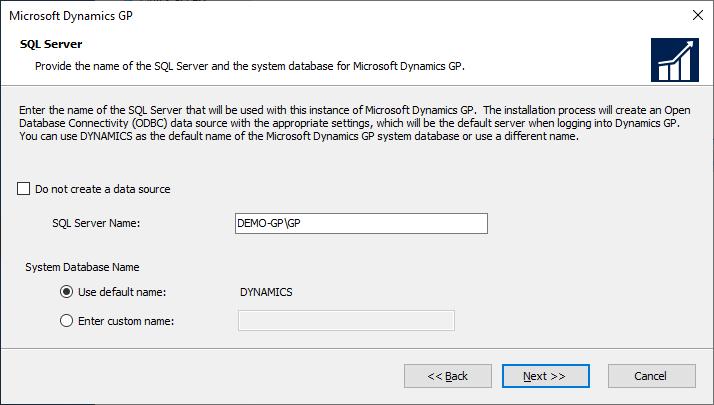 Microsoft Dynamics GP setup - SQL Server