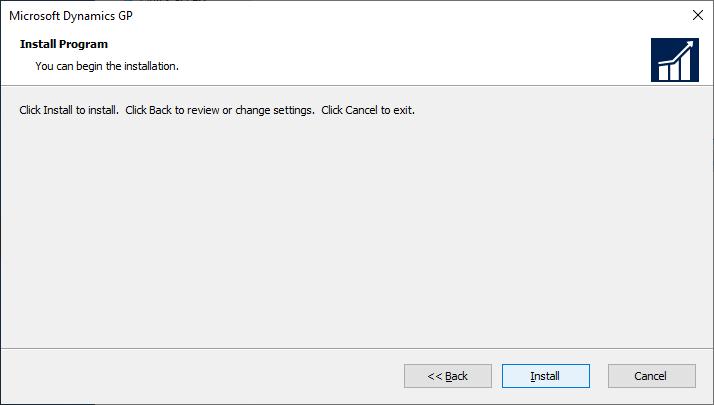 Microsoft Dynamics GP setup - Install Program