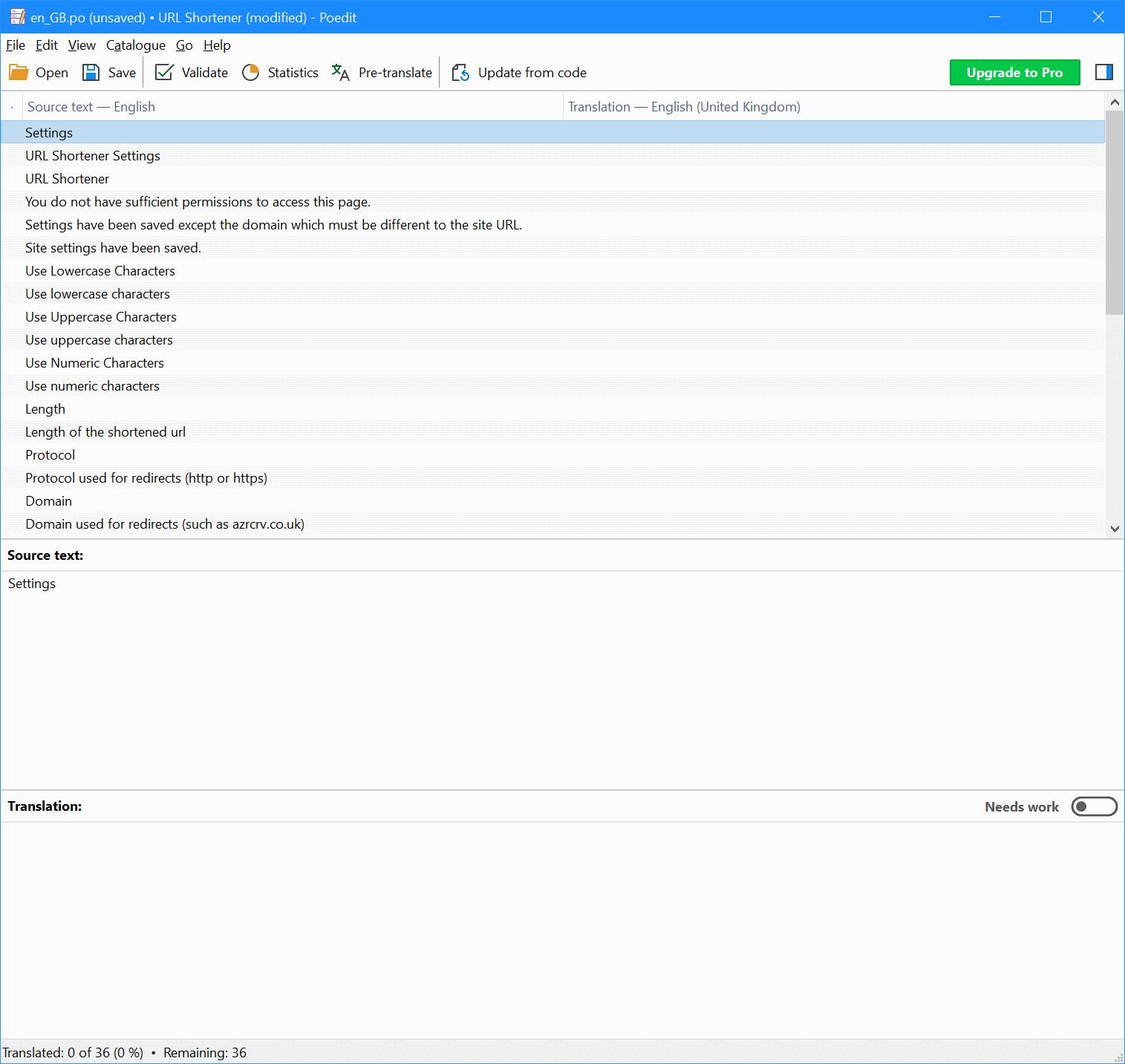 Poedit translation screen