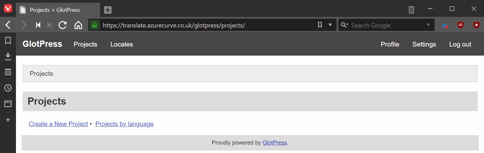 GlotPress Projects page
