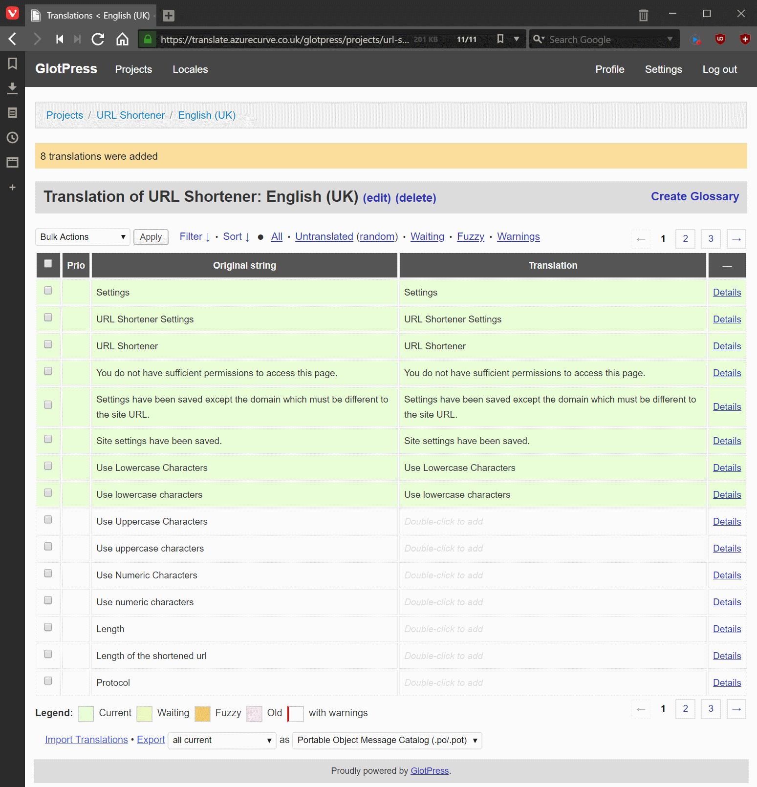 Translation strings imported