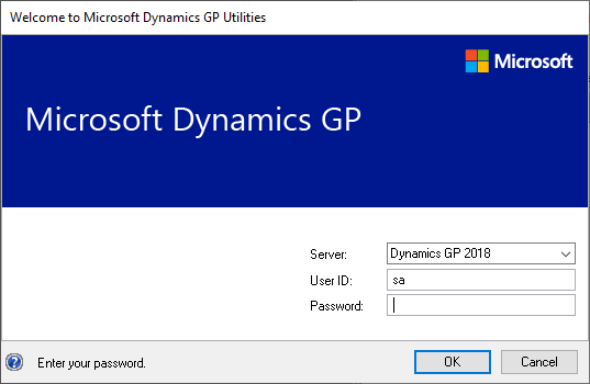 Welcome to Microsoft Dynamics GP Utilities - login