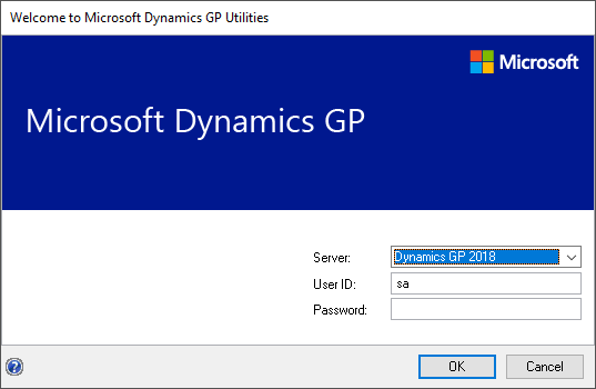 Welcome to Microsoft Dynamics GP Utilities - login