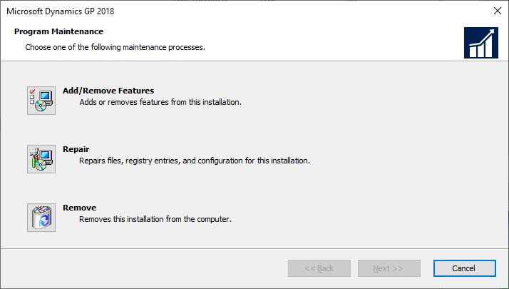 Microsoft Dynamics GP - Program Maintenance