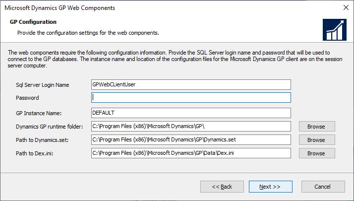Microsoft Dynamics GP Web Components - GP Configuration