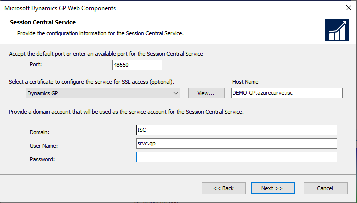 Microsoft Dynamics GP Web Components - Session Central Service