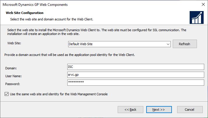 Microsoft Dynamics GP Web Components - Web Site Configuration