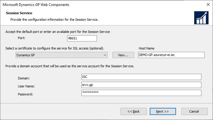 Microsoft Dynamics GP Web Components - Session Service