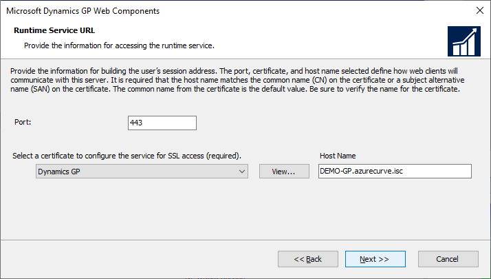 Microsoft Dynamics GP Web Components - Runtime Service URL