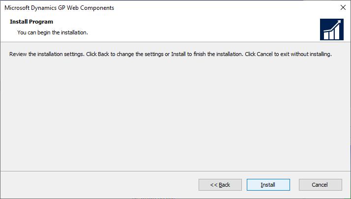 Microsoft Dynamics GP Web Components - Install Program