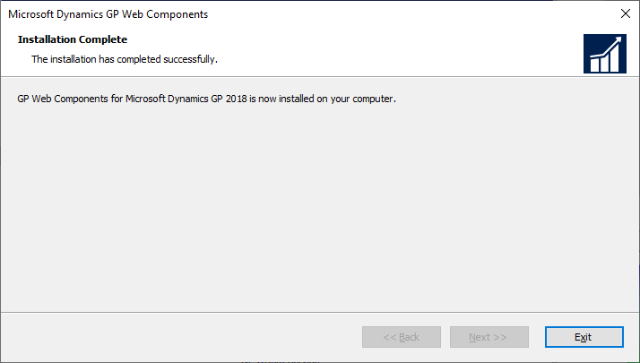 Microsoft Dynamics GP Web Components - Installation Complete