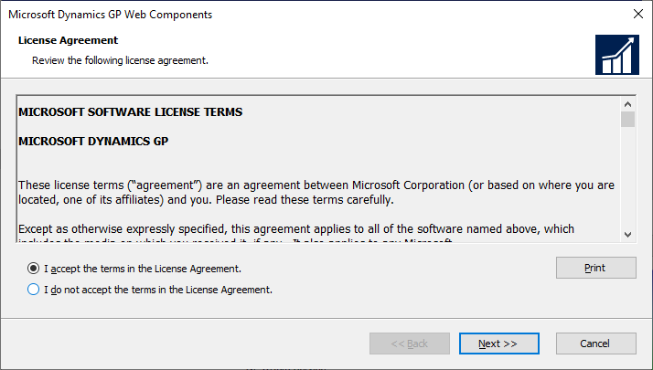 Microsoft Dynamics GP Web Components - License Agreement