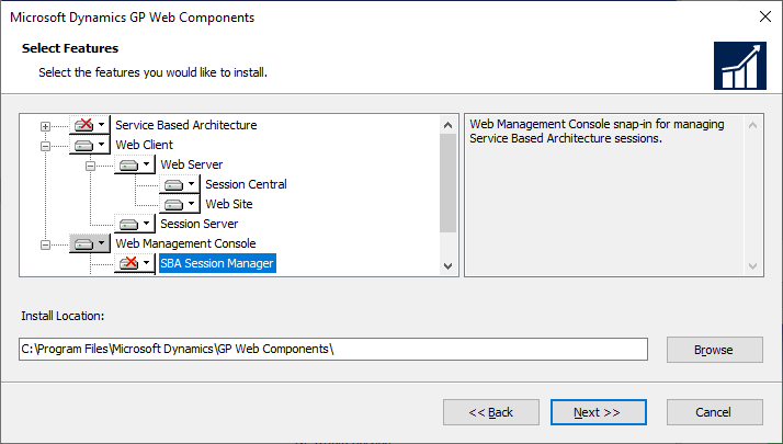 Microsoft Dynamics GP Web Components - Select Features