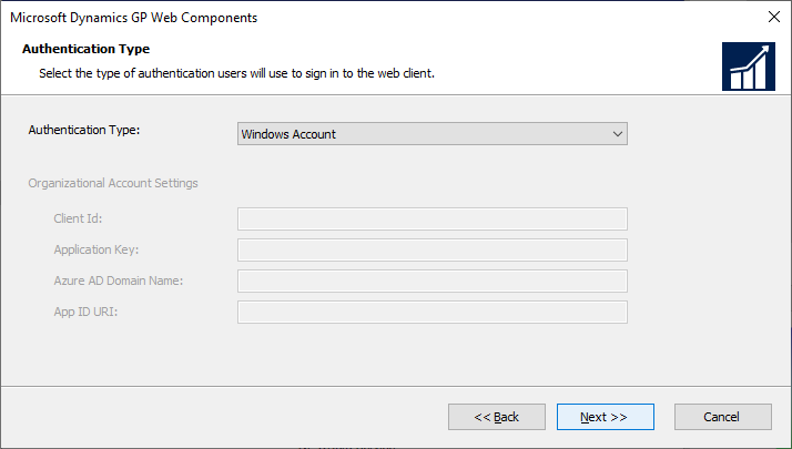 Microsoft Dynamics GP Web Components - Authentication Type